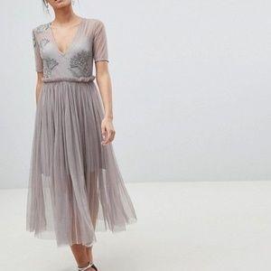 new ASOS mesh midi embellished dress us 6